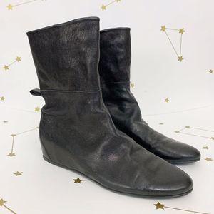 Stuart Weitzman • Black Leather Wedge Boots 8.5